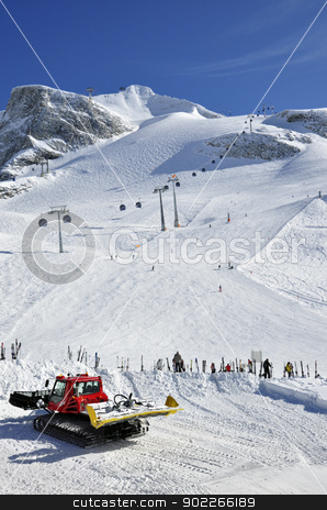 Snow groomer at Hintertux Glacier stock photo, Hintertux Glacier, gondola cable car, snow groomer, ski runs and skiers in Zillertal Alps in Austria by Krzysztof Nahlik