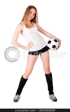 shot of a sporty young woman stock photo, Full isolated studio picture from a young and beautiful woman with ball by Aikon