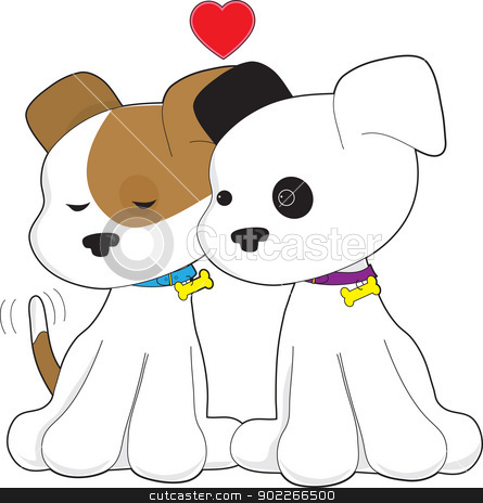 Puppy Couple stock vector clipart, Two puppies, one with eyes closed and the other with eyes open, sit together with a red heart up above them. by Maria Bell