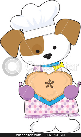 Puppy Love Pie stock vector clipart, A puppy dressed as a baker, is holding a hot, heart shaped pie for Valentines. by Maria Bell