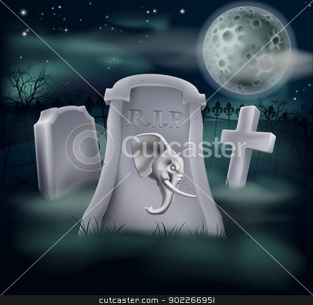 Death of Republican Party Concept stock vector clipart, Death of Republican Party concept of tombstone with Republican symbol of Elephant on a grave marker (Democrat version also available) by Christos Georghiou