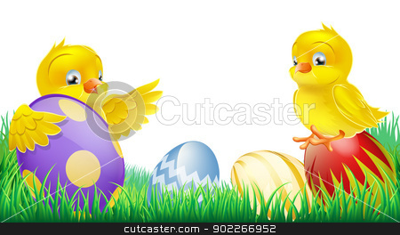 Cute yellow chicks and Easter eggs stock vector clipart, Two cute happy little yellow Easter chicks with colorful decorated Easter eggs  by Christos Georghiou