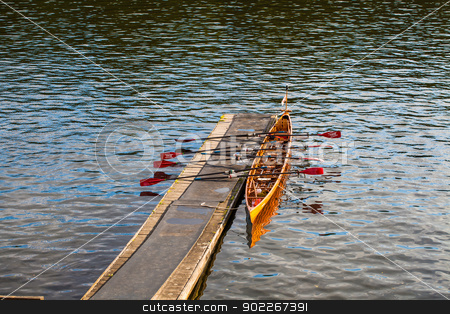 rowing boat stock photo, rowing boat at a jetty by Axel Lauer