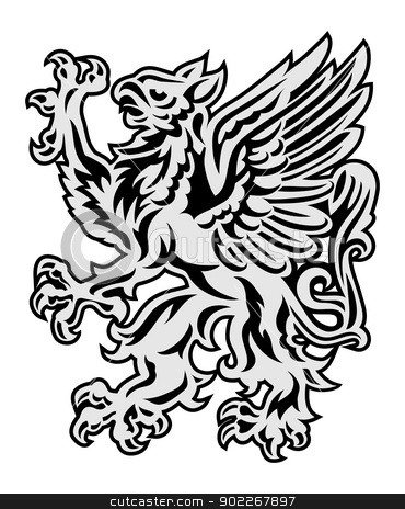 Griffin on white background stock vector clipart, Heraldry style griffin illustration isolated on white by Moenez