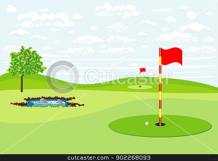 golf field stock vector clipart, illustration of golf field with red flags by bobyramone