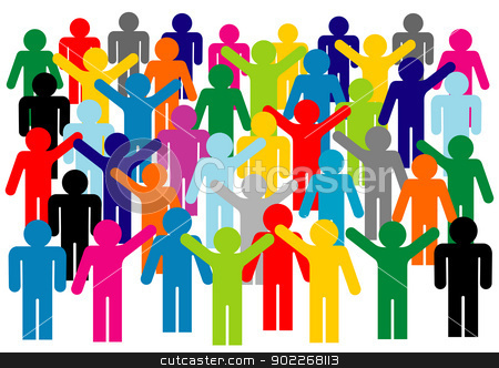protest stock vector clipart, illustration of contours of people in protest on white background by bobyramone