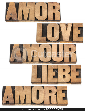 love word in 5 languages stock photo, love word in 5 languages (English, Spanish, German, French and Italian) - a collage of isolated text in vintage letterpress wood type printing blocks, by Marek Uliasz