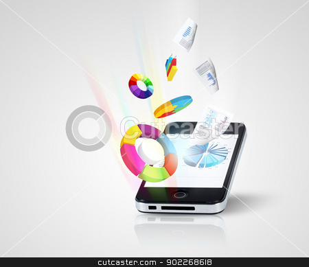 Pad and three-dimensional graphics stock photo, The Pad and three-dimensional graphics on gray background . illustration by Sergey Nivens