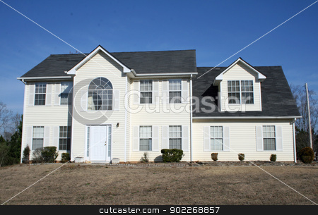Colonial House stock photo, typical suburban Colonial tract house by Wanda Anthony