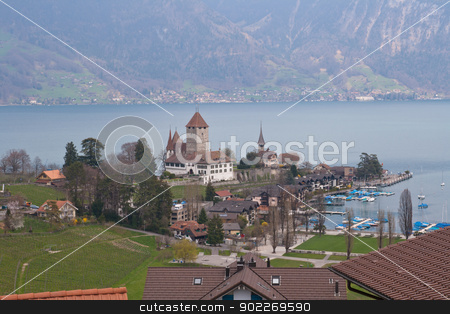Lake thun at Spiez Switzerland stock photo, Lake thun at Spiez Switzerland by Vichaya Kiatying-Angsulee