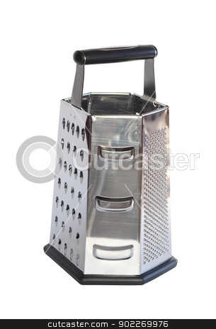 grater stock photo, metal grater isolated on white by Vitaliy Pakhnyushchyy