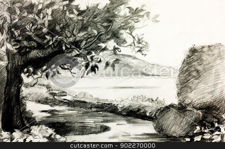 Lake shore stock photo,  Original pencil  or drawing charcoal and  hand drawn painting or  working  sketch of a quiet lake and shore with trees and rocks by borojoint