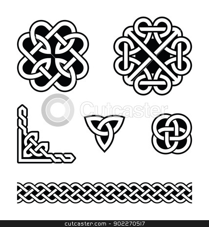 Celtic knots patterns - vector stock vector clipart, Set od traditional Celtic symbols, knots, braids in black and white by Agnieszka Murphy