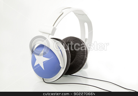 Modern headphones stock photo, Modern Headphones, detail of headphones, stereo music, technology by Sergio Barrios