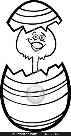 chicken in easter egg cartoon for coloring stock vector clipart, Black and White Cartoon Illustration of Funny Little Chicken or Chick in Colorful Eggshell of Easter Egg for Coloring Book by Igor Zakowski