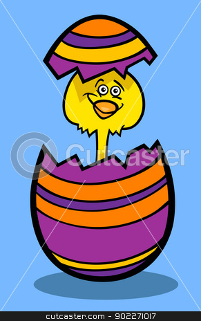 chick in easter egg cartoon illustration stock vector clipart, Cartoon Illustration of Funny Little Yellow Chicken or Chick in Colored Eggshell of Easter Egg by Igor Zakowski