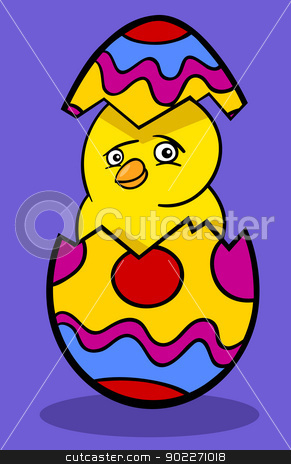 chicken in easter egg cartoon illustration stock vector clipart, Cartoon Illustration of Funny Little Yellow Chicken or Chick in Colored Eggshell of Easter Egg by Igor Zakowski