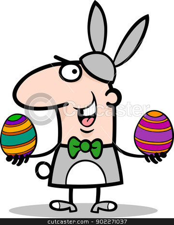 man in easter bunny costume cartoon stock vector clipart, Cartoon Illustration of Funny Man in Easter Bunny Costume with Easter Eggs in his Hands by Igor Zakowski