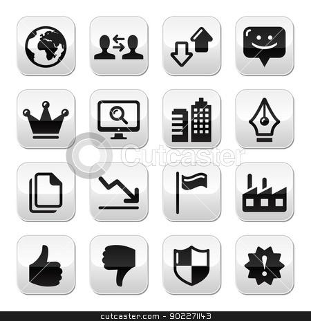 Web internet buttons set - vector stock vector clipart, Modern application website grey square buttons set by Agnieszka Murphy