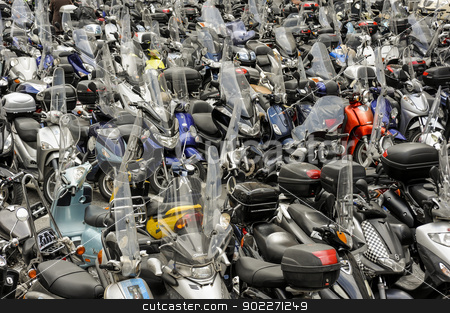Scooters stock photo, Hundreds of motorbikes parked by lillo