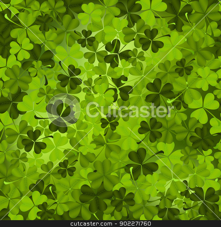 Shamrock Meadow stock vector clipart, Three leaved shamrock seamless pattern. by wingedcats
