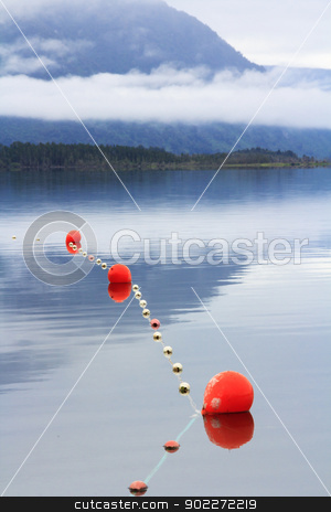 mountain blue lake stock photo, scenic mountain blue lake lanscape with the morning mist and clouds, fishing nets and orange floats by SkyLynx