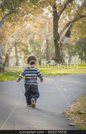 Young Baby Boy Walking in the Park stock photo, Happy Young Baby Boy Walking in the Park. by Andy Dean