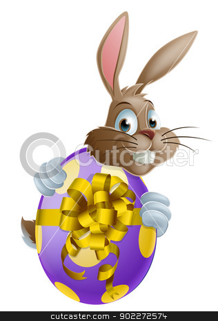Easter bunny and egg stock vector clipart, Cute Easter bunny cartoon character holding onto and peeking round a painted chocolate Easter egg by Christos Georghiou