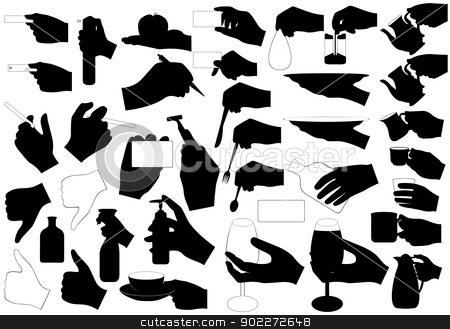Hands with stock vector clipart, Illustration of hands with different objects by Iliuta