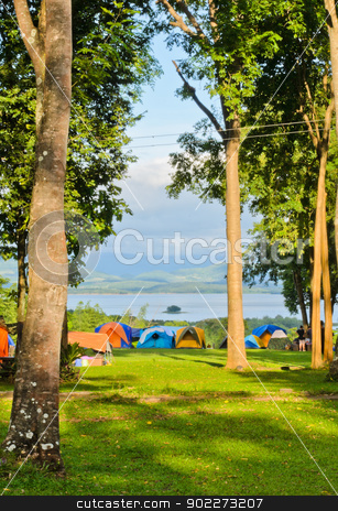 Camping tents  stock photo, Camping tents on the mountain by boonsom