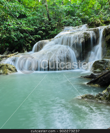 Erawan waterfall stock photo, Tropical rain forest cascading falls in Erawan National Park, Thailand by boonsom