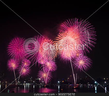Fireworks  stock photo, Fireworks at Pattaya beach, Thailand by boonsom