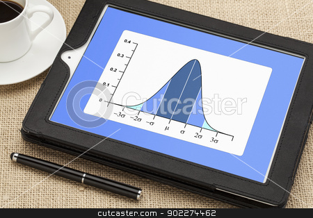 Gaussian (bell) graph  stock photo, Gaussian, bell or normal distribution curve on digital tablet computer together with a cup of coffee and stylus pen by Marek Uliasz