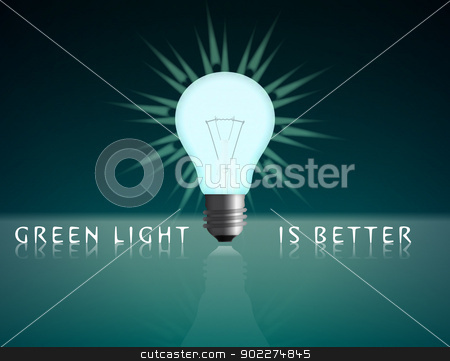 Green Energy - Light stock vector clipart, Green light at green background. It gives an ecological message. by ANTONIOS KARVELAS