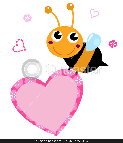 Cute flying Bee holding pink heart isolated on white stock vector clipart, Happy cute Ladybug with pink heart. Vector Illustration by BEEANDGLOW
