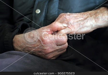 detail of old hands stock photo, old man hands - hands that worked in farming by coroiu octavian