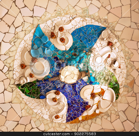Antoni Gaudi Ceramic Mosaic Design, Guell Park, Barcelona, Catal stock photo, Antoni Gaudi ceramic mosaic design in Guell Park, Barcelona, Catalonia, Spain.  Guell Park is a residential complex designed by Antnoi Gaudi between 1900-1914, which is now a public park.  Now a UNESCO World Heritage Site.  Design created by plates.  by William Perry