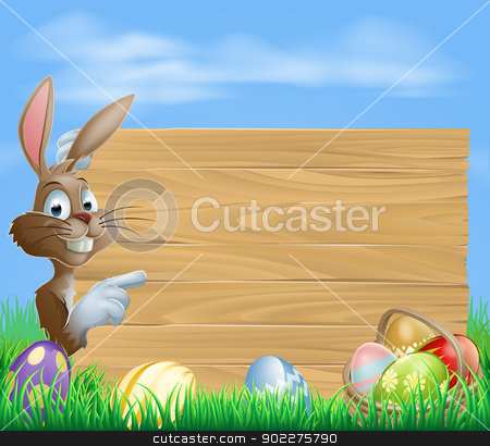Easter bunny and Eggs with wooden sign stock vector clipart, Easter bunny with Easter Eggs and blank wooden sign for your text by Christos Georghiou