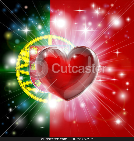 Love Portugal flag heart background stock vector clipart, Flag of Portugal patriotic background with pyrotechnic or light burst and love heart in the centre by Christos Georghiou