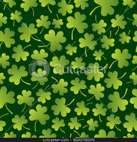 Seamless Shamrock Pattern stock vector clipart, A seamless pattern of shamrocks in varied sizes. by Jamie Slavy