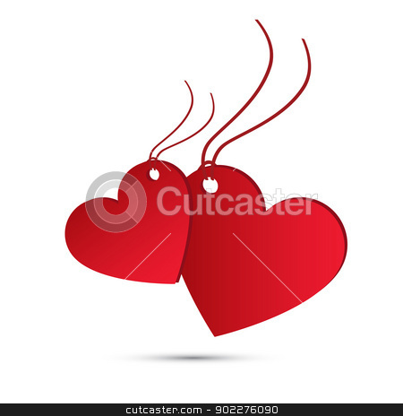 Two red hearts for valentines day stock vector clipart, Holiday card. Two red hearts for valentines day by kurkalukas
