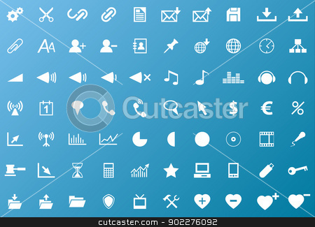Set of white navigation web icons stock vector clipart, Set of white navigation web icons on blue background by kurkalukas
