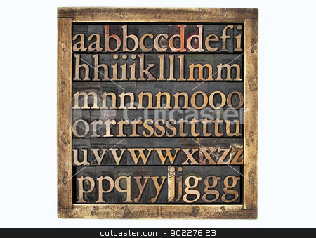 box of wood type letters stock photo, wooden box of vintage letterpress alphabet printing blocks stained by color inks by Marek Uliasz