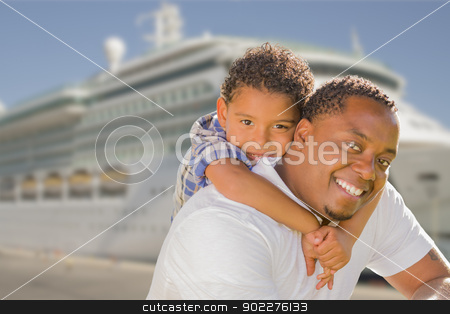 Mixed Race Father and Son In Front of Cruise Ship stock photo, Happy African American Father and Mixed Race Son In Front of Cruise Ship. by Andy Dean