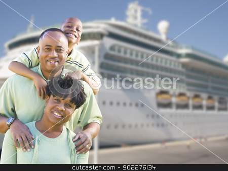 Happy Family in Front of Cruise Ship stock photo, Happy African American Family in Front of Cruise Ship. by Andy Dean