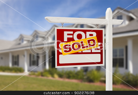Sold Real Estate Sign and House stock photo, For Sale Sold Real Estate Sign and New House. by Andy Dean