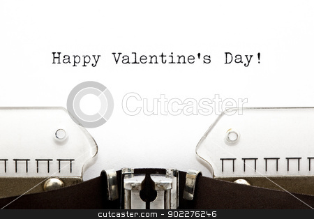 Typewriter Happy Valentines Day stock photo, Happy Valentine's Day greeting printed on an old typewriter  by Ivelin Radkov