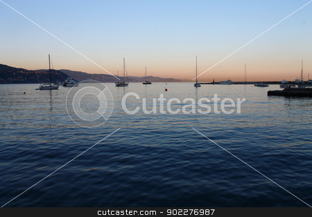 Italian sunset stock photo, Picture of a sunset in Liguria in Italy by willeye