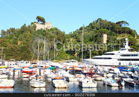 The sleeping boats and the giant stock photo, Lots of boats sleeping in Portofino sea together with a yatch by willeye