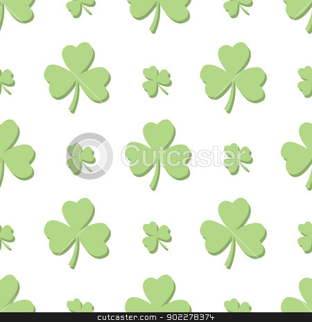 Seamless Light Green Shamrocks stock vector clipart, A seamless pattern of alternating shamrocks in a light green color with no background. by Jamie Slavy
